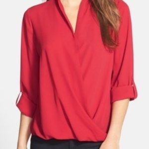 Pleione red wrap Grecian hi low blouse top